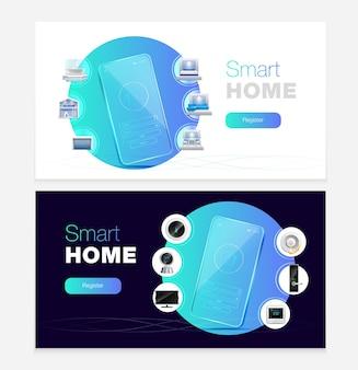 Zestaw banerów inteligentnej automatyki domowej