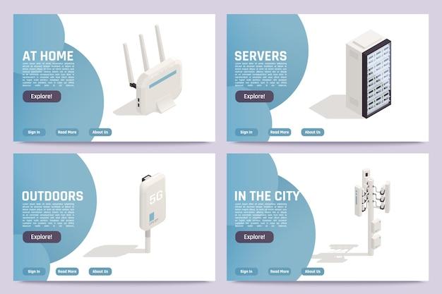 Zestaw banerów internetowych dostawców internetowych