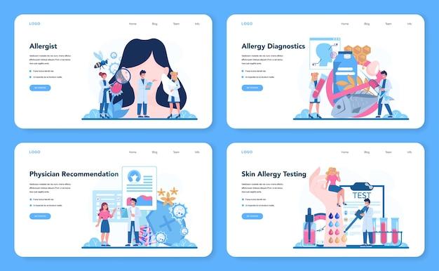 Zestaw banerów internetowych lub stron docelowych dla alergologów.