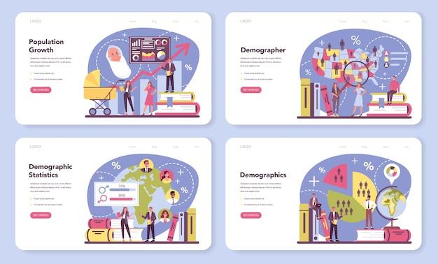 Zestaw banerów internetowych lub stron docelowych dla demografów.