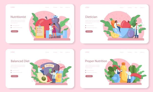 Zestaw banerów internetowych lub stron docelowych dla dietetyków. plan diety ze zdrową żywnością i aktywnością fizyczną. kontrola kalorii i koncepcja diety.