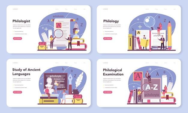 Zestaw banerów internetowych lub stron docelowych dla filologów