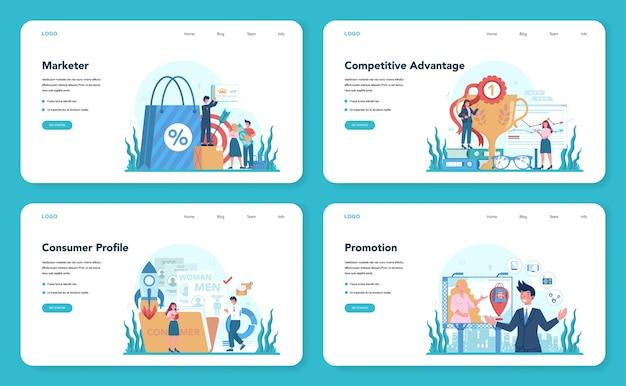 Zestaw banerów internetowych lub stron docelowych dla marketerów