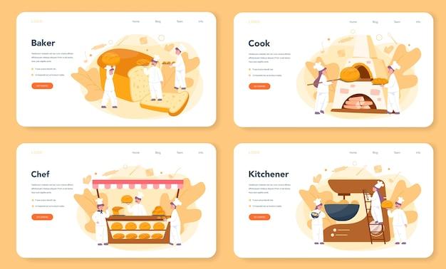 Zestaw banerów internetowych lub stron docelowych dla piekarzy i piekarni. szef kuchni w mundurze pieczenia chleba. proces pieczenia ciasta. ilustracja na białym tle wektor w stylu cartoon