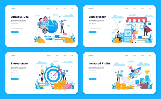 Zestaw banerów internetowych lub stron docelowych dla przedsiębiorców. idea lukratywnego biznesu, strategia i osiągnięcia. dąż do sukcesu i zwiększania zysków. ilustracja na białym tle wektor w stylu płaski