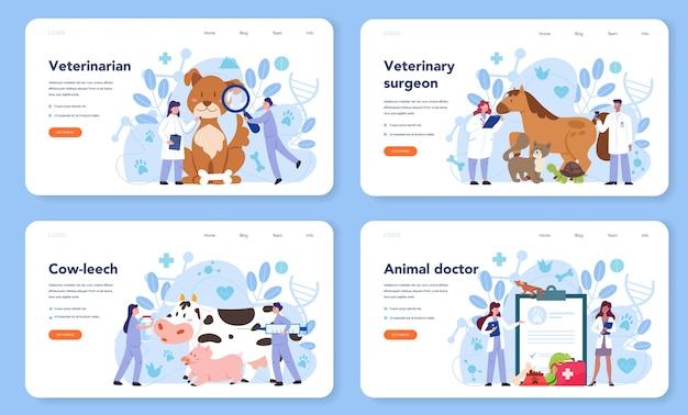 Zestaw Banerów Internetowych Lub Stron Docelowych Dla Weterynarzy Dla Zwierząt Domowych Premium Wektorów