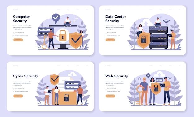 Zestaw banerów internetowych lub stron docelowych dotyczących bezpieczeństwa cybernetycznego lub internetowego
