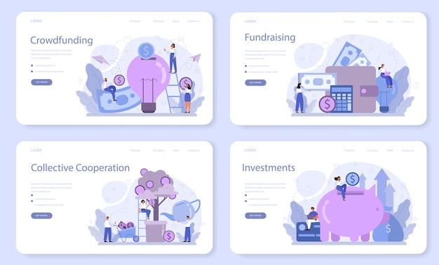 Zestaw banerów internetowych lub stron docelowych dotyczących finansowania społecznościowego