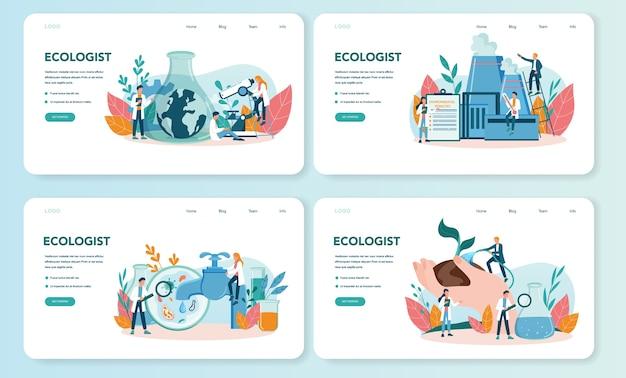 Zestaw banerów internetowych lub stron docelowych ekologów. zestaw naukowca dbającego o ekologię i środowisko. ochrona powietrza, gleby i wody. zawodowy działacz ekologiczny.