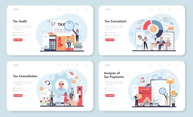 Zestaw banerów internetowych lub stron docelowych konsultanta podatkowego. idea księgowości i płatności.