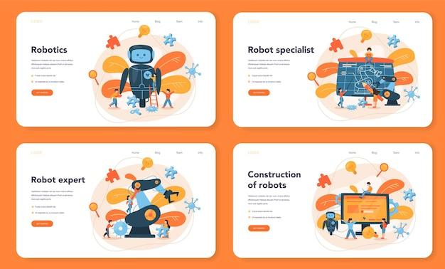 Zestaw banerów internetowych lub stron docelowych robotów