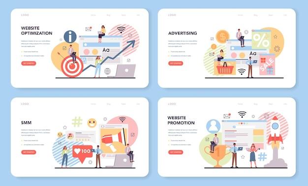 Zestaw banerów internetowych lub stron docelowych smm i promocji witryny
