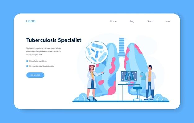 Zestaw banerów internetowych lub stron docelowych specjalisty od gruźlicy.