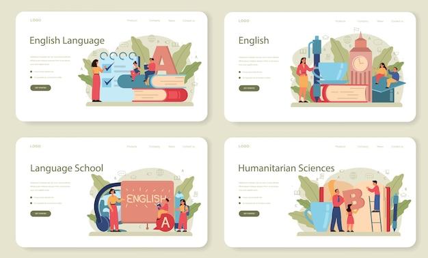 Zestaw banerów internetowych lub stron docelowych w angielskiej klasie. ucz się języków obcych w szkole lub na uniwersytecie. idea globalnej komunikacji. nauka słownictwa obcego.