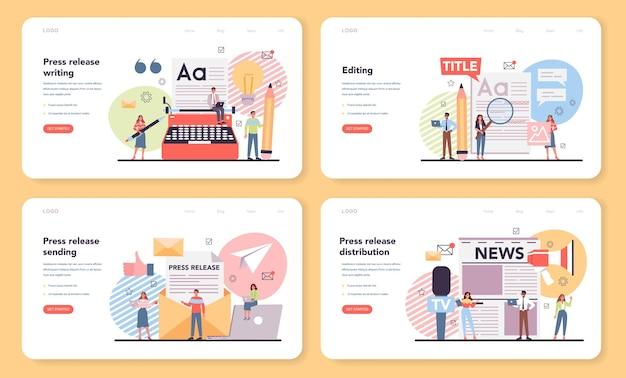 Zestaw banerów internetowych lub stron docelowych w komunikacie prasowym