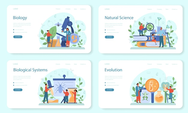 Zestaw banerów internetowych lub stron docelowych z tematem szkoły biologii. naukowiec badający człowieka i przyrodę. lekcja anatomii i botaniki. idea edukacji i eksperymentu.