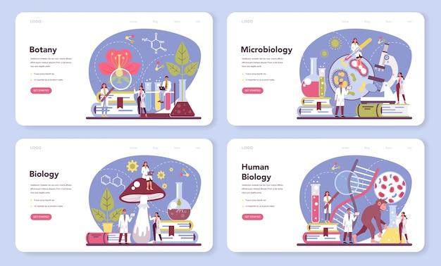 Zestaw banerów internetowych lub strony docelowej nauki biologii