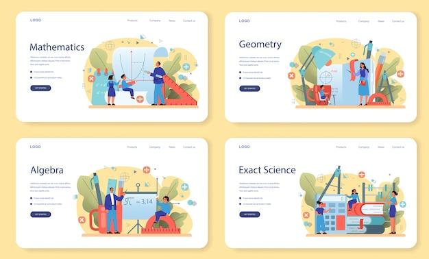 Zestaw banerów internetowych lub strony docelowej tematu szkoły matematyki. nauka matematyki, pojęcie edukacji i wiedzy. nauka, technologia, inżynieria, edukacja matematyczna.