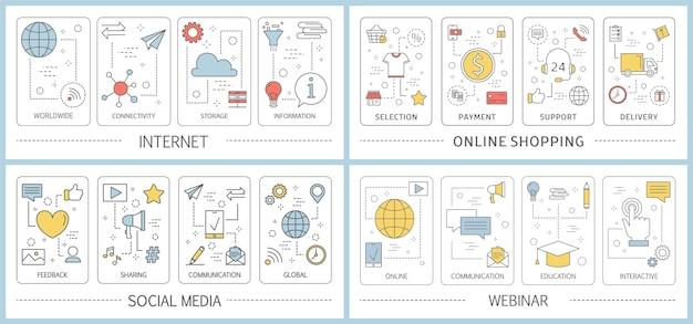 Zestaw banerów internetowych m-commerce. zakupy online i mobilne