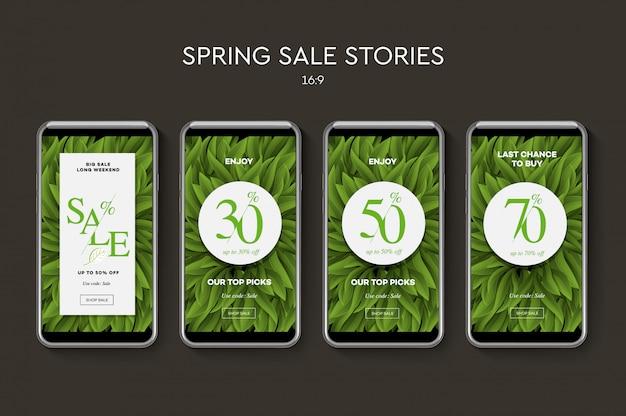 Zestaw banerów internetowych wiosna / lato do aplikacji mobilnych w mediach społecznościowych. promocja sprzedaży i rabatów