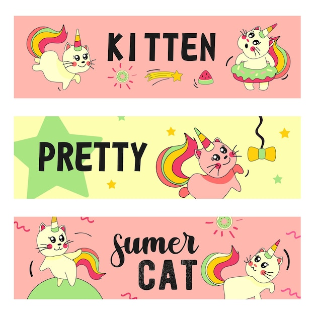 Zestaw banerów kot jednorożca. śmieszne kreskówki letnie dziecko kotek z tęczowymi ilustracjami róg i ogon
