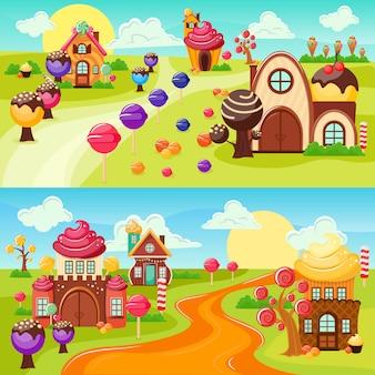 Zestaw banerów krajobraz słodycze