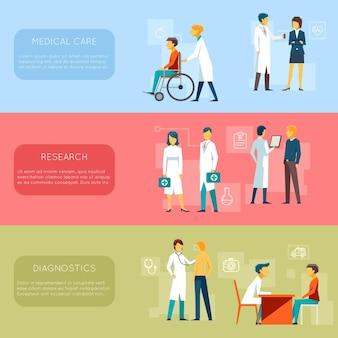 Zestaw banerów lekarza i personelu medycznego. opieka zdrowotna, badania, ilustracja diagnostyczna