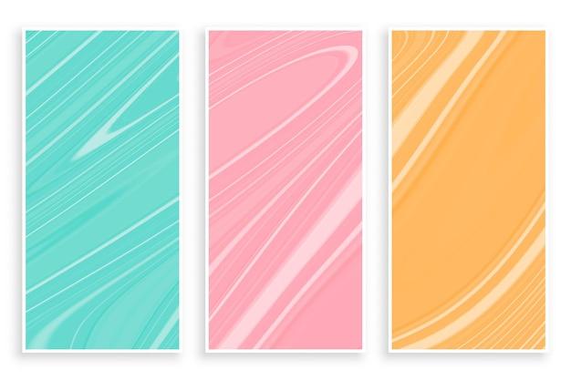 Zestaw banerów marmurowa tekstura w pastelowych kolorach