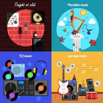 Zestaw banerów melodii i instrumentów