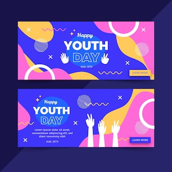 Zestaw banerów międzynarodowego dnia młodzieży