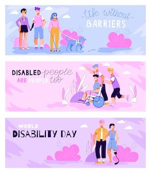 Zestaw banerów na dzień niepełnosprawnych z postaciami płaskiej ilustracji wektorowych