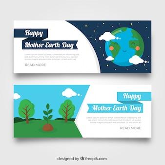 Zestaw banerów na dzień ziemi matki