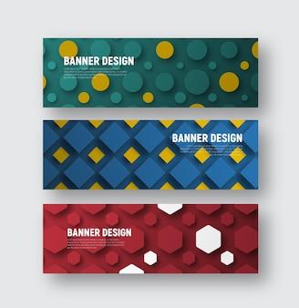 Zestaw banerów na stronie internetowej o różnych kształtach geometrycznych na tle.