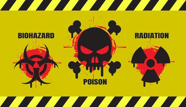 Zestaw banerów niebezpieczeństwa grunge zawierających trzy oficjalne międzynarodowe symbole zagrożenia