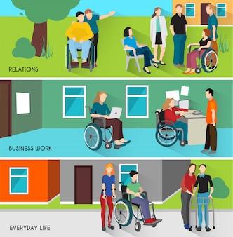 Zestaw banerów osób niepełnosprawnych