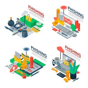 Zestaw banerów phishingowych. izometryczny zestaw transparentu phishingu wektorowego do projektowania stron internetowych
