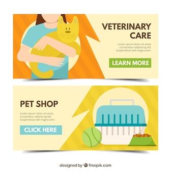 Zestaw banerów pielęgnacji zwierząt w stylu płaskiej