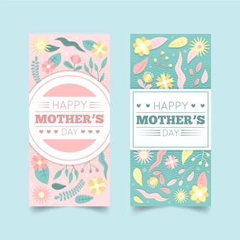 Zestaw Banerów Płaski Dzień Matki Darmowych Wektorów