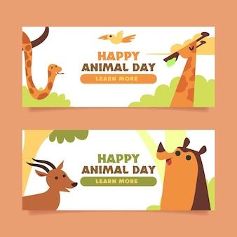 Zestaw banerów płaski światowy dzień zwierząt