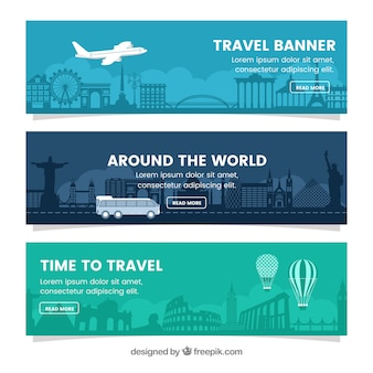 Zestaw banerów podróżnych w płaskim stylu