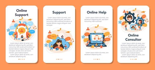 Zestaw banerów pomocy technicznej dla aplikacji mobilnych. idea obsługi klienta. konsultant wspiera klientów i pomaga im w rozwiązywaniu problemów. dostarczenie klientowi cennych informacji.