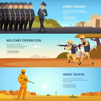 Zestaw banerów postaci wojskowych i różnych specyficznych narzędzi