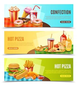 Zestaw banerów poziome fast food