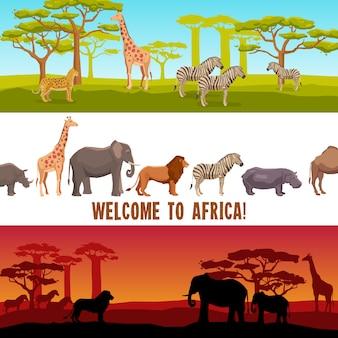 Zestaw banerów poziomych afrykańskich zwierząt