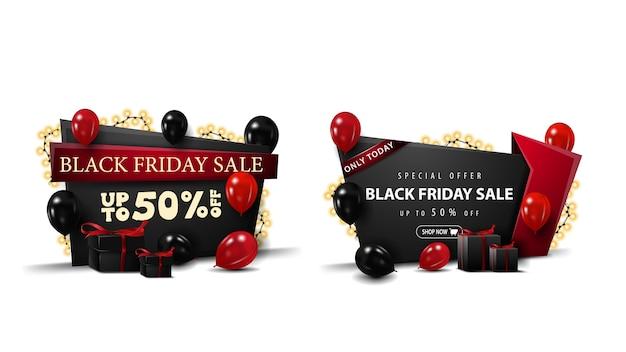 Zestaw banerów rabatowych na czarny piątek w stylu kreskówki ozdobiony czerwonymi i czarnymi balonami, jasnymi girlandami i prezentami