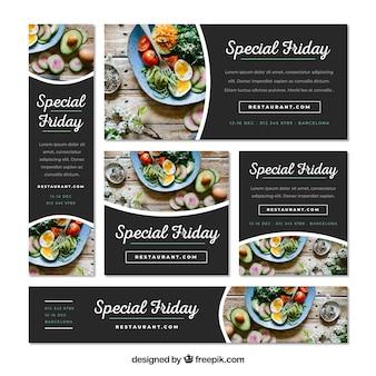 Zestaw banerów restauracja ze zdjęciem