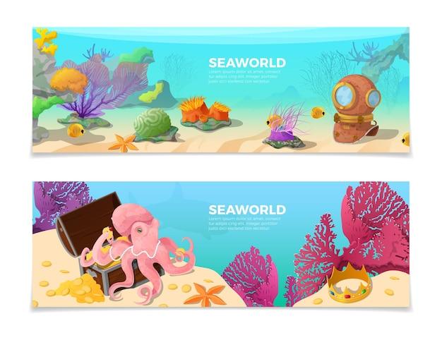 Zestaw Banerów Seaworld Premium Wektorów