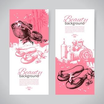 Zestaw banerów spa. vintage ręcznie rysowane ilustracje wektorowe szkicu