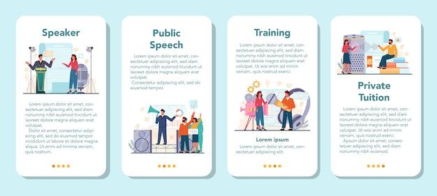 Zestaw banerów specjalistycznej aplikacji mobilnej retoryki lub elokucji