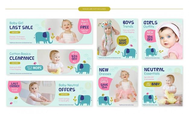 Zestaw banerów sprzedaż dla niemowląt sklep - słodkie słonie